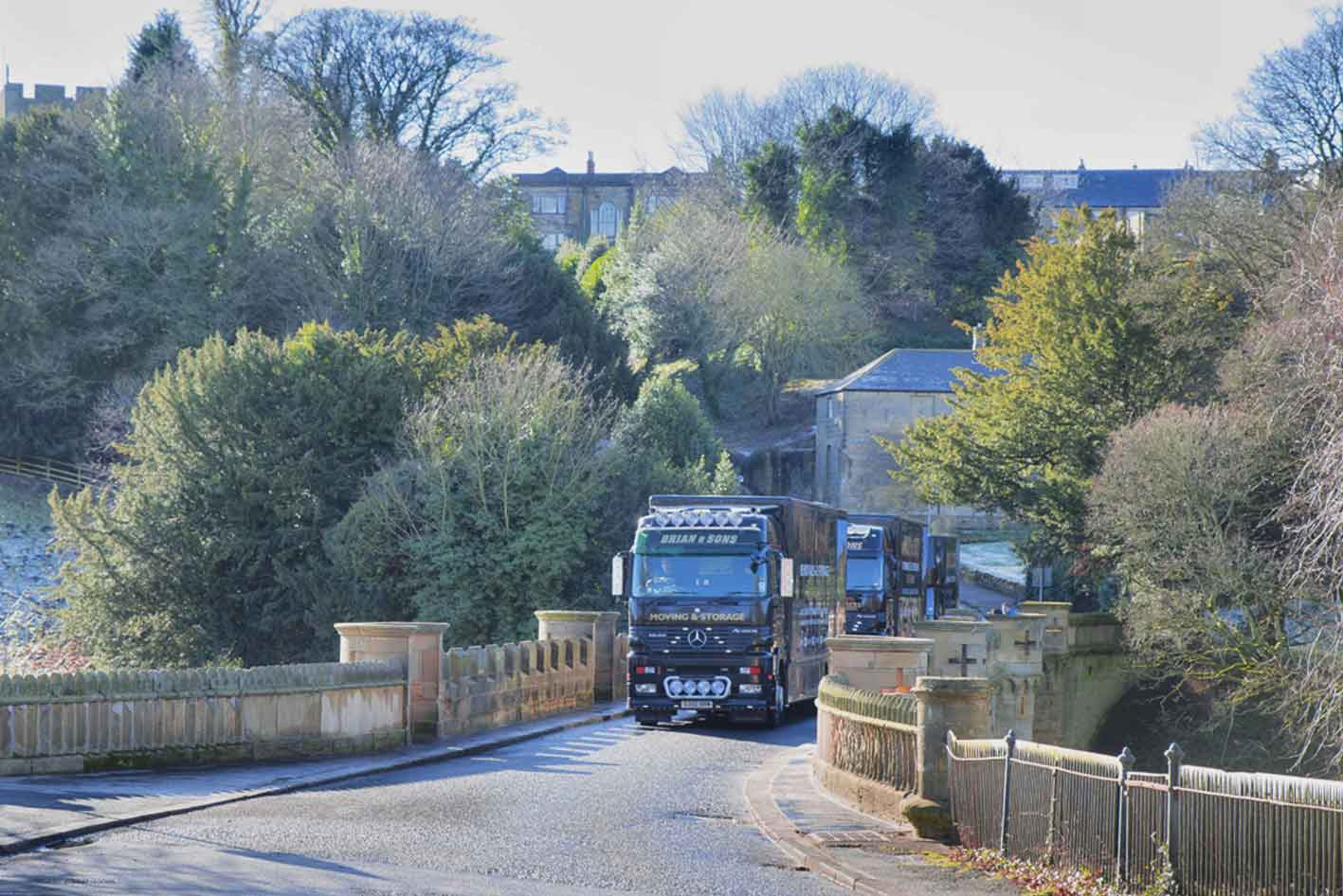Brian and Sons Removals Crossing the Lion Bridge in Alnwick