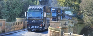 Brians Removals Crossing the Lion Bridge in Alnwick